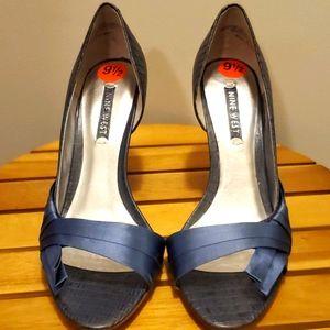 Nine West Blue with croc satin ribbon heels
